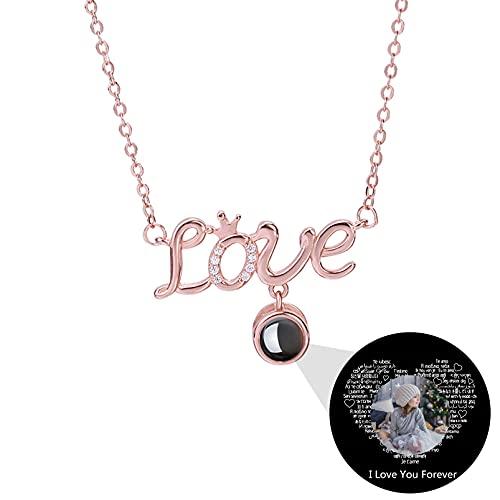 Collar I Love You en 100 Idiomas Collar de Amor Personalizado de Proyección Collar con Foto Personalizada para Mamá(Oro rosa a todo color 14)