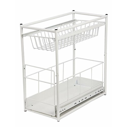 Spetebo Einbauschublade für Küchenschränke - 45x23x45cm - Farbe: weiß - Korbauszug Schublade Einbauschublade für spülschrank