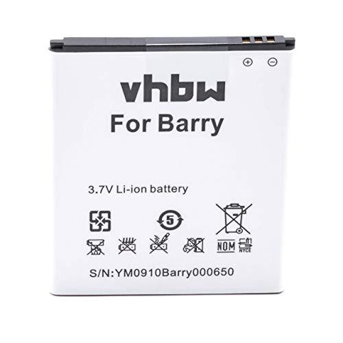 vhbw Li-Ion Akku 2000mAh (3.7V) für Handy Telefon Smartphone Elson Mobistel Cynus T5, MT-9201s, MT-9201w wie BTY26182, BTY26182MOBISTEL/STD.