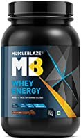MuscleBlaze Whey Energy with Whey & Multivitamins Blend (Chocolate, 1 kg / 2.2 lb, 30 Servings)