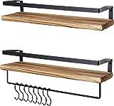 LifeGoods 2erpack Rustikale Holz Schweberegale mit Handtuchhalter und Haken | Hängeregale für...