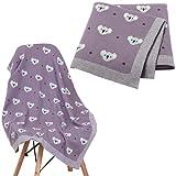Manta para bebé recién nacido, manta de tejido celular de algodón suave, manta para envolver para bebé Toddle edredón koala patrones de tejer Soogan Boy Grils púrpura 80 x 100 cm