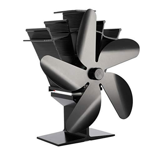 Kaminventilator, Ofen Ventilator ohne Strom mit 5 Rotorblätter und Breite Verbindungsplatte für Holz/LOG Brenner/Kamin, Hitze Powered Ofen Fan Aluminium Leise &Umweltfreundlich