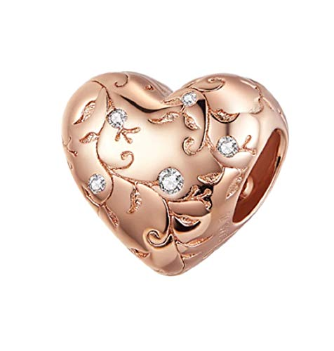 FeatherWish I Love You Love Heart Bead 925 Sterling Silver Charm With Tree Leaves And Cubic Zirconia Compatible With Pandora Bracelet European 3mm Charm Bracelets And Necklace (Rose Gold)