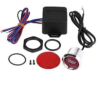 Keenso Universal 12V Car Vehicle Engine Start Push Button Switch Ignition Starter Kit Blue LED Red LED