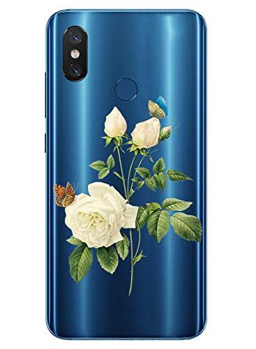 Oihxse Case Transparente Suave TPU Compatible con Xiaomi Mi 9 Funda [Lindo Caricatura Flor Serie Dibujos] Cristal Protector Carcasa Anti Rasguños Bumper Cover-Gardenia