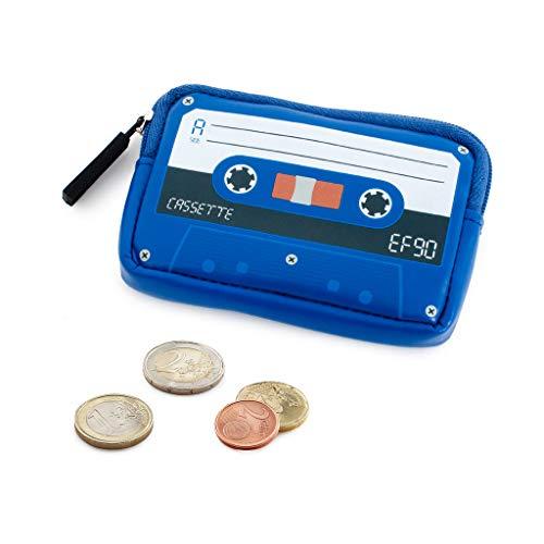Balvi Monedero Cassette Color Azul Monedero Original en Forma de Cassette Retro Monedas, Tarjetas Regalos Originales para Mujeres y Hombres Plástico PVC 7x10x2 cm