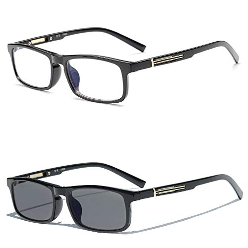 2019 New Fashion Men's Classic Square Transition photochromic Brand Luxury Reading Glasses (Black, 1.5)