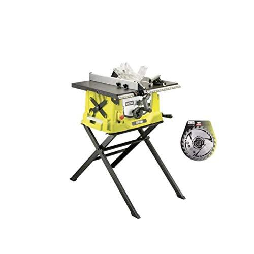 Pack sierra eléctrica de mesa Ryobi 1800W 254mm base retráctil RTS1800S - hoja de carburo para sierras 254mm 24 diente