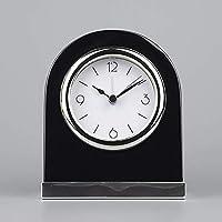 無垢材のマントルピース時計、ナイトライト付きのサイレントマントルピース時計マントルピース時計リビングルームの装飾用に電池式ブラック
