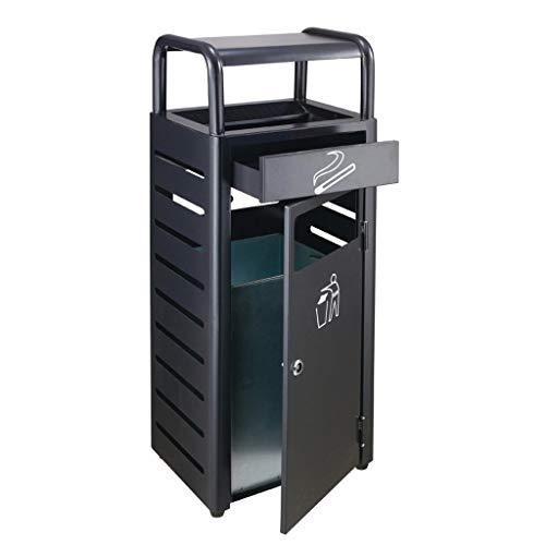 BOWCORE Mülleimer für den Außenbereich, schwarzer Mülleimer im Schrank, Industrie-Mülleimer mit Deckel, kommerzieller Abfallbehälter, Edelstahl Schwarz