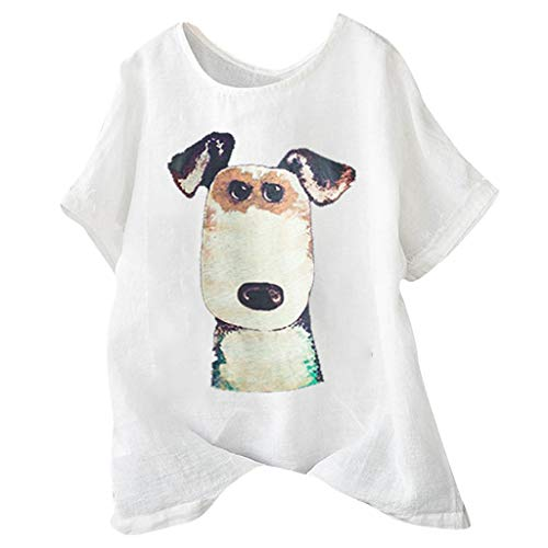 Xinantime Womens Casual Cute Dog Print T-Shirts Ladies Loose Linen Button Tunic Shirt Blouse Tops (White,XL)