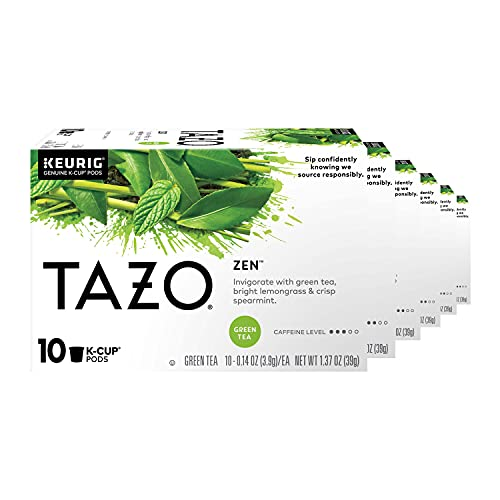 Tazo K-Cup Pods For an Invigorating Cup of Green Tea Zen Tea Helps You Feel Focused and Zen 10 Count, Pack of 6 (Packaging May vary)
