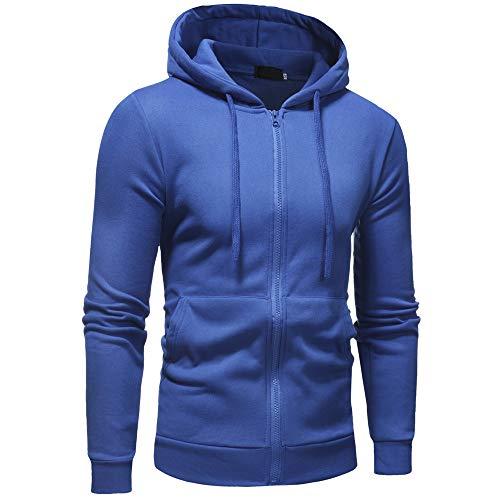 Sudadera con Capucha y Sudadera con Cremallera y Color sólido para Hombre, suéter, Chaqueta de Manga Larga,Suéter, suéter, suéter de Punto (Azul, L)