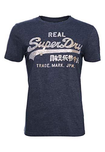Superdry Mujer Camiseta con Lentejuelas y Logo Vintage con Pespuntes Azul Marino Eclipse Jaspeado 40