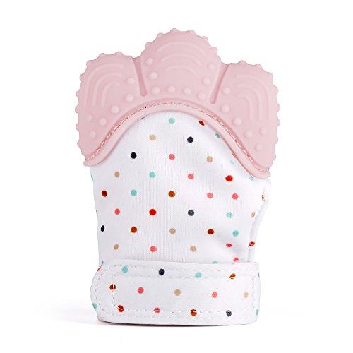Eizur Baby Beißringe Handschuh Neugeborenen Silikon Schnuller Fäustlinge BPA FREI Zahn Handschuh Beissringe Spielzeug für 3-18 Monate Baby - Rosa