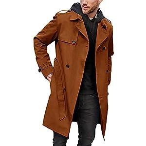 メンズ トレンチコート スリムフィット ロングラペル ダブルブレスト ベルト付き ウィンドブレーカー ジャケット 防風 ボタン オーバーコート US サイズ: XX-Large カラー: ブラウン