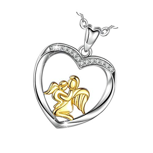 925 Sterling Silver Angel Wing Mom Hold Baby Golden Bicolor Necklace Pendant Presents For Women Girls