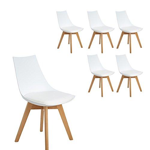 H.J WeDoo Pack 6 Tower sedie da Pranzo in Legno faggio, Tulip Sedie Design Stile scandinave Nordico con Cuscini in Finta Pelle - Bianco