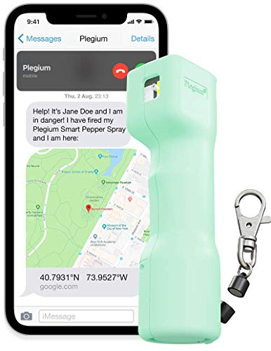 Plegium Smart Pepper Spray Keychain 5-in-1 (Mint Green) – Free Location Texts & Phone Calls,...