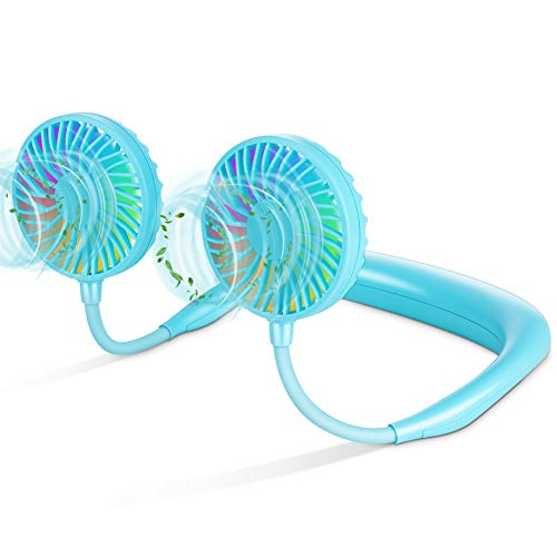 LUWATT Neck Fan with Color Changing LED, Upgraded Version Hands-Free Portable Small USB Personal Mini Neckband Fan 4000mAh Battery Operated Rechargeable Fan for Home Outdoor Camping Sports Blue