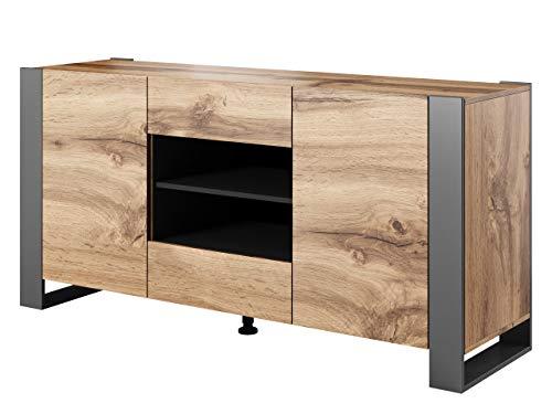 Mirjan24 Kommode Weelo mit 2 Türen und 2 Schubladen, Anrichte, Highboard, Mehrzweckschrank, Diele & Flur, Sideboard, Wohnzimmerschrank, Wohnzimmer Set (Wotan/Anthrazit)