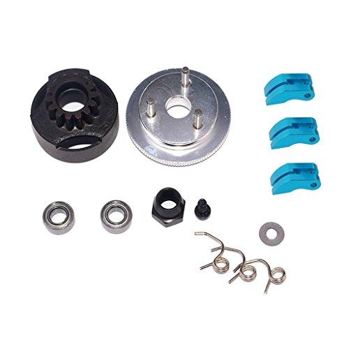 dailymall 14T Gear Schwungrad RC Car Bearing Kupplungsglocke Schuhe Nut Springs Blau
