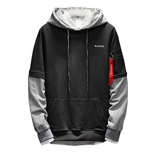 AKAIDE Hoodies Herren Langarm T Shirts Patchwork Hip-Hop Tops Sweatshirt für Herbst Pullover Pullover Japanisch Reine und Fake Zwei Mode Cap Gr. XL, dunkelgrau