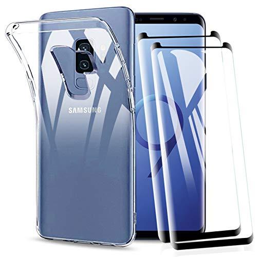 KEEPXYZ Funda para Samsung Galaxy S9 Plus + 2 Pcs Protector de Pantalla para Galaxy S9 Plus Cristal Templado, Suave Silicona Transparente TPU Antigolpes Carcasa + Vidrio Templado para Samsung S9 Plus