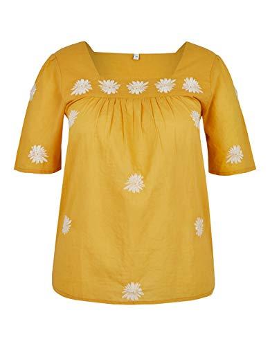 Bexleys Woman by Adler Mode Damen Bluse mit Stickerei gelb/weiß 38