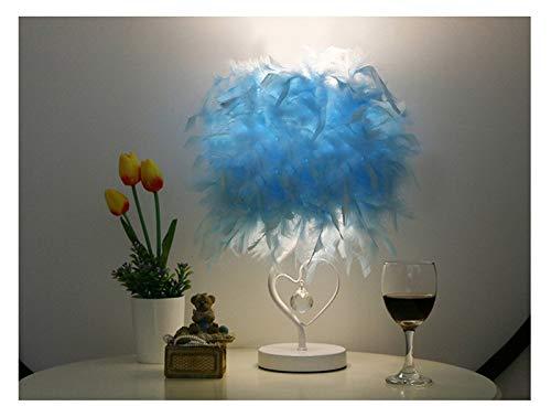 QIANGQSM Lámpara de Mesa Colgante de la Pluma de la lámpara romántica de ensue Pluma luz de la Tabla Habitación Sala Parlor lámpara de Mesa Cuarto (Emitting Color : B, Lampshade Color : Blue)