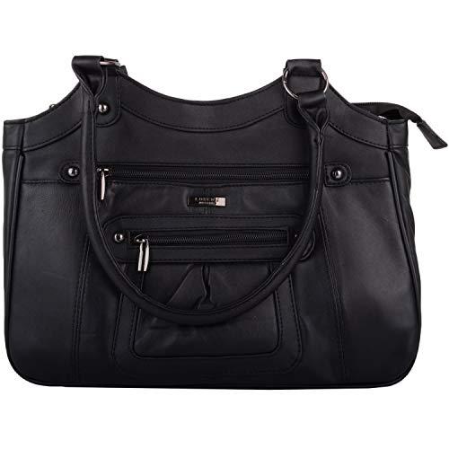 Damen Handtasche / Schultertasche aus weichem Nappaleder, Schwarz - Schwarz - Größe: Einheitsgröße