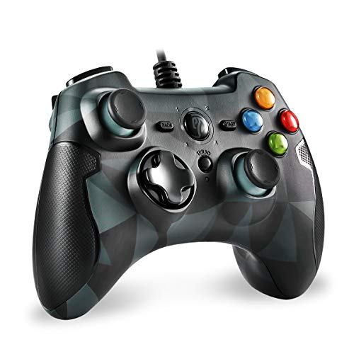 EasySMX PS3 Controller, PC Wired Gamepad für Spiele mit Kabel mit Dual-Vibration, Turbo und Fronttasten für PS3/Windows/Android TV, TV Box