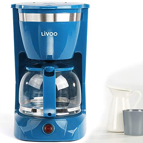 Kaffeemaschine Blau mit Glaskanne für 12 Tassen Warmhaltefunktion Kegelfilter (Kaffeeautomat, Kaffeelöffel, Automatische Abschaltung, Wasserstandsanzeige)
