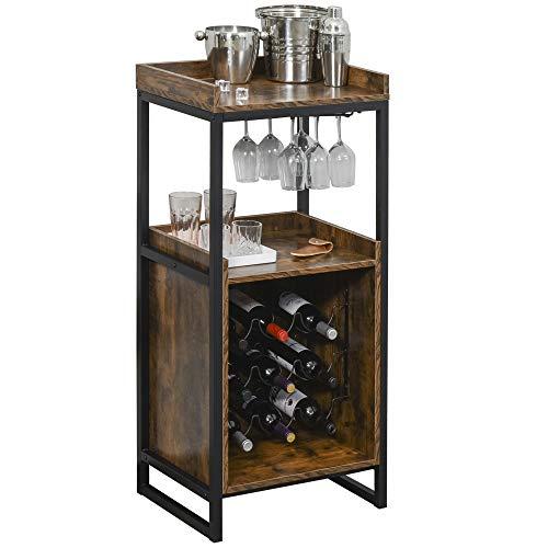HOMCOM Weinregal 9 Flaschen-Weinschrank Flaschenregal mit 2 offenen Regalen & Glashalter Schwarz+Braun 52 x 40 x 113 cm