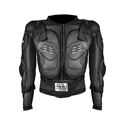 LINGKY Ropa protectora de la armadura completa de la motocicleta, chaqueta de la camisa protectora del campo a través del motocross de la calle, protección trasera (negro, 3XL)