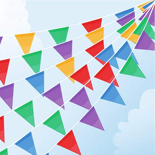 XIAOBEE Multicolor Bunting Nylon Flags for Decorate Wedding, Party, Holiday Party, Dance Party, Celebration, Restaurant, bar (120 Feet, Multicolor)