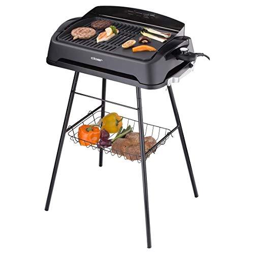 Cloer 6750 Antihaftbeschichtet/Standfuß/gesundes 2000 Watt/Grillfläche: 43 x 30,5 cm/Barbecue-Grill, Gebürstet, schwarz
