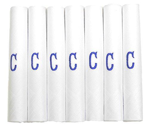 DUDU N GIRLIE Pañuelos de raso blanco para hombre y caballero, con iniciales bordadas azules, C, talla única