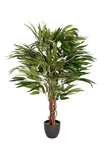 hjh OFFICE Kunstpflanze Mango Höhe 130 cm Grün 588 Blätter große Zimmerpflanze Mangobaum Topfpflanze Baum künstlich, 871001