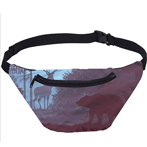 Cabin Travel Fanny Bag,Grizzly Bear Antler Jungle Waist Pack for Adult Coworker
