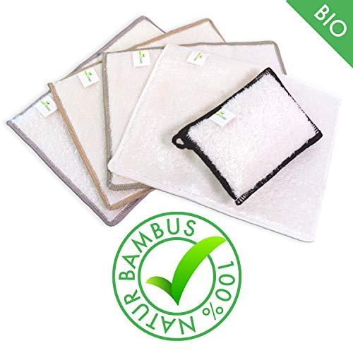 Green Child - Bambus Allzweck Putztücher und Putzschwamm (Set 5 Stück) - Ohne Mikrofaser, biologisch abbaubar - Putzlappen für Küche, Bad, Auto, Fenster etc.