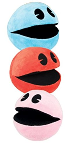 Pac-Man 4' Plush Assortment - 1 Red, 1 Blue, and 1 Pink