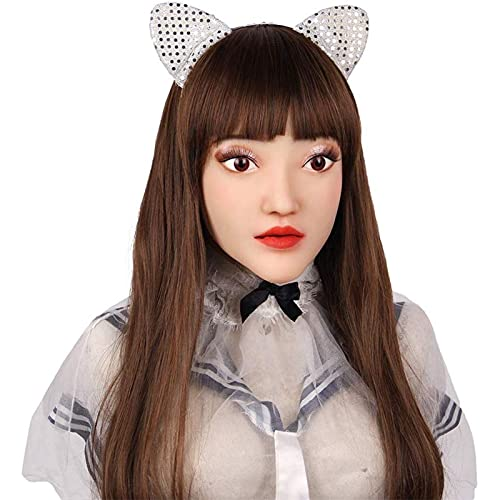 Vrouwelijke huid siliconen masker Halloween crossdresser transvestiet transgender man masker party cosplay kostuum maskerade gemaskeerde bal (Color : Lvory white)
