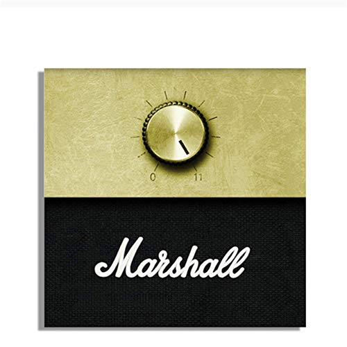 KONGQTE Marshall Amplificador Perilla de Volumen música Pintura al óleo sobre Lienzo Carteles e Impresiones imágenes artísticas de Pared para Sala de Estar -50x50cm sin Marco