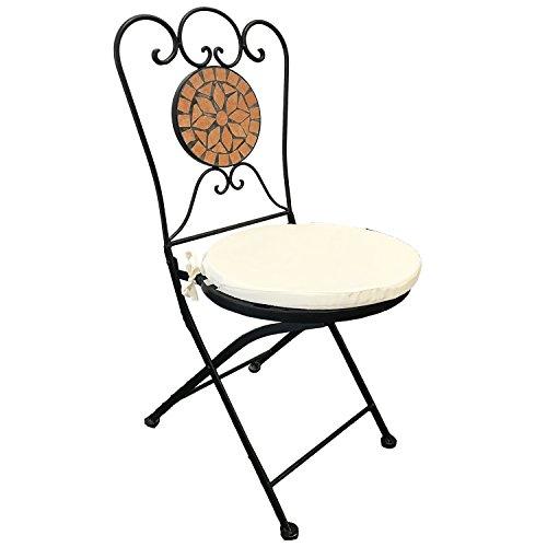 Dekorativer Mosaikstuhl Terrakotta Mosaik Klappstuhl Gartenstuhl mit Stuhlpolster Beige für In- und Outdoor