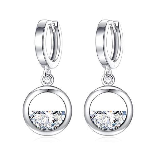 NOBRAND Pendientes de Plata esterlina Pendientes de Cadena de Cristal Redondo para Mujer Joyería de Moda Femme