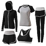 BOTRE 5 Pezzi Tute da Ginnastica Donna Tute Sportive Yoga Fitness Palestra Running Jogging Completi Sportivi Abbigliamento (Grigio 03, M)