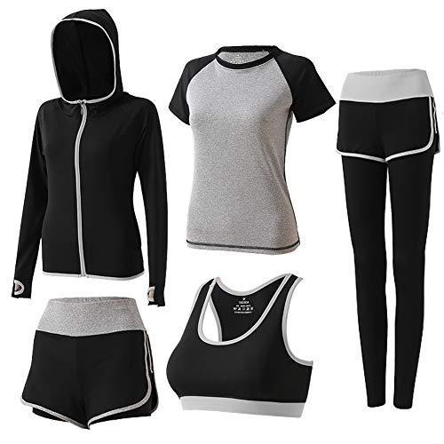 BOTRE 5 Pezzi Tute da Ginnastica Donna Tute Sportive Yoga Fitness Palestra Running Jogging Completi Sportivi Abbigliamento (Grigio 03, S)
