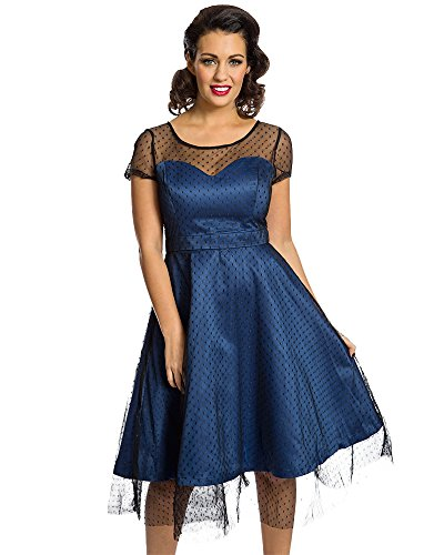 Lindy Bop Damen Kleid Blau blau Gr. 36, blau